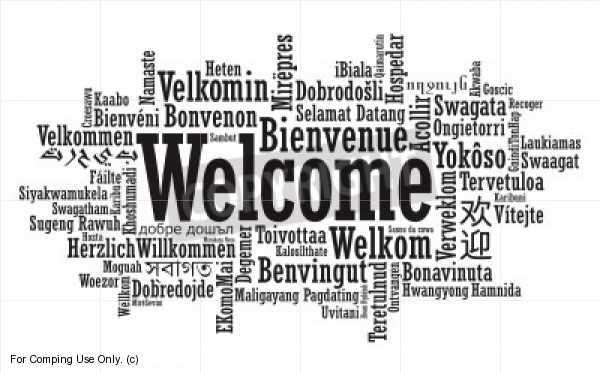 Wortblase mit dem Wort Welcome auf verschiedenen Sprachen