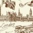 Alte schwarzweiße Postkarte aus London