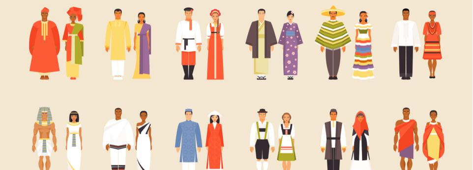Graphik mit Paaren in verschiedenen kulturellen Kostümen
