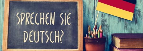 Tafel mit dem Satz Sprechen Sie Deutsch? neben einer Deutschland Flagge